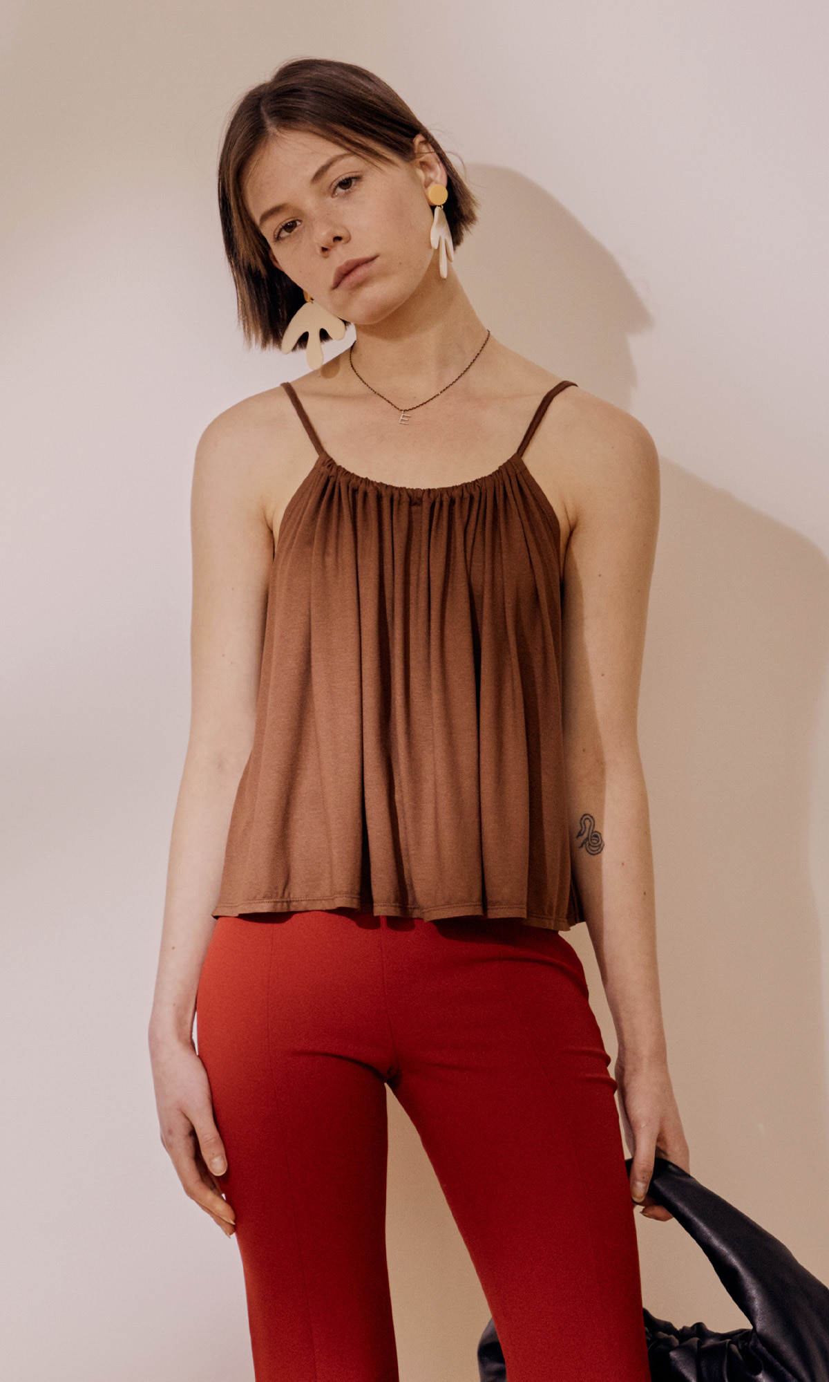 Perry Jersey Sleeveless Top_Brown