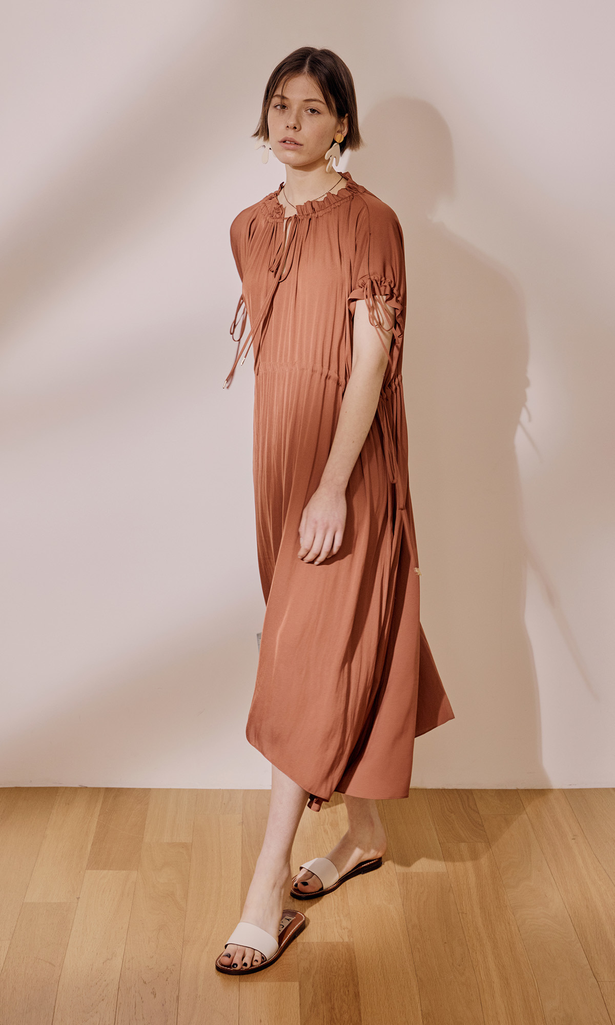 Garden Shirring Dress_Orange Brown (1차 리오더)
