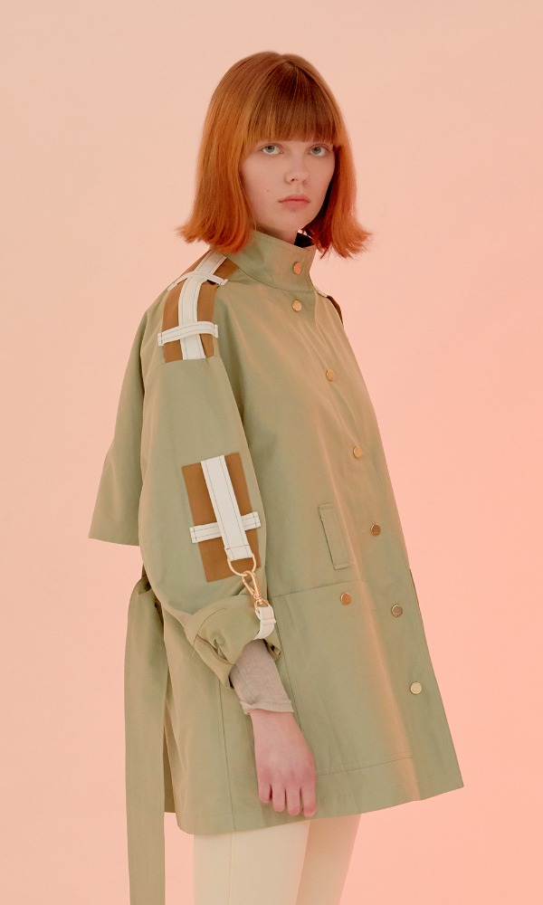 Elie Sleeve Belt Short Trench_Milk Khaki
