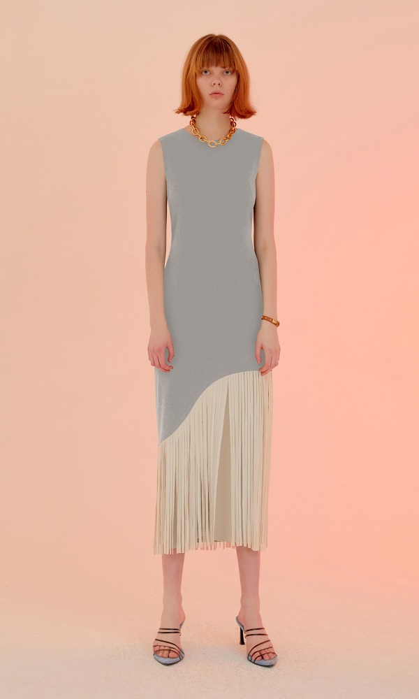 Poin Fringe Dress_Mint Gray