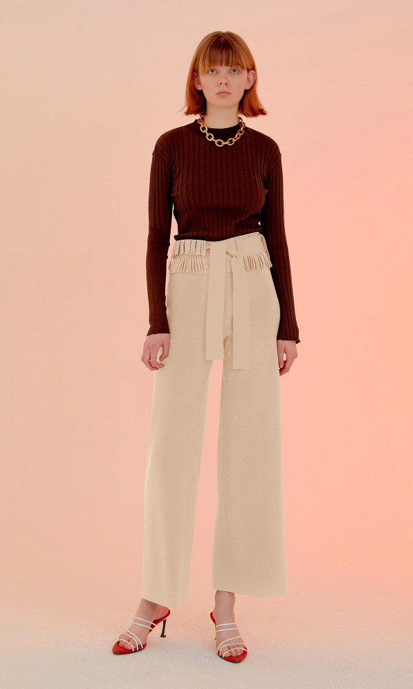 Fringed Basel Wide Trouser_Ivory
