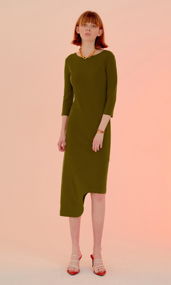 Rindi Line Point Dress_Herb Green