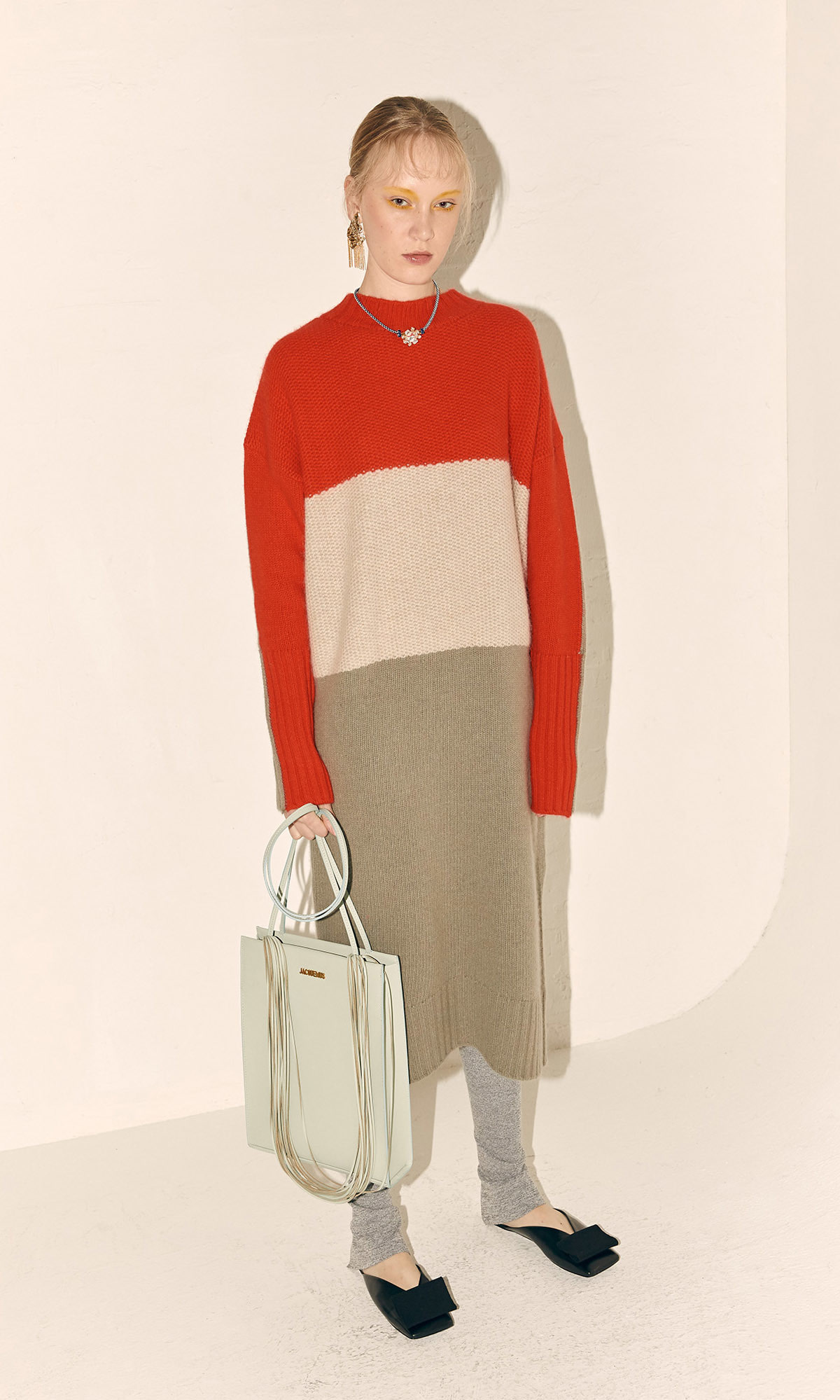 Fine Wool Knit Dress_Red Combi