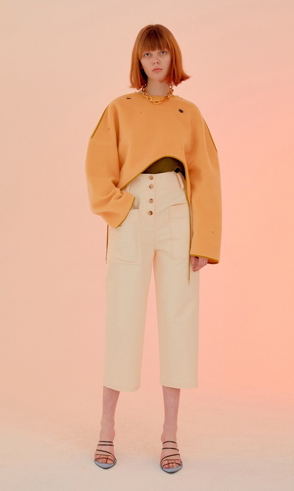 Bello Button Trouser_Ivory