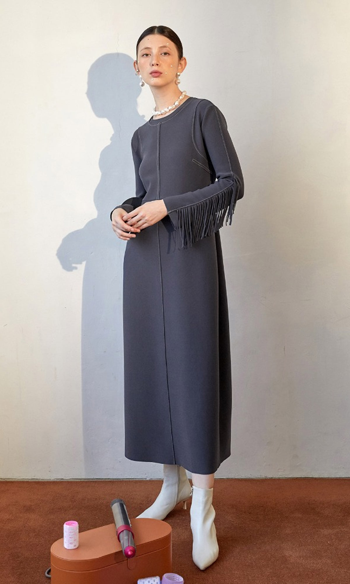 Ordu Arm Point Dress_Charcoal