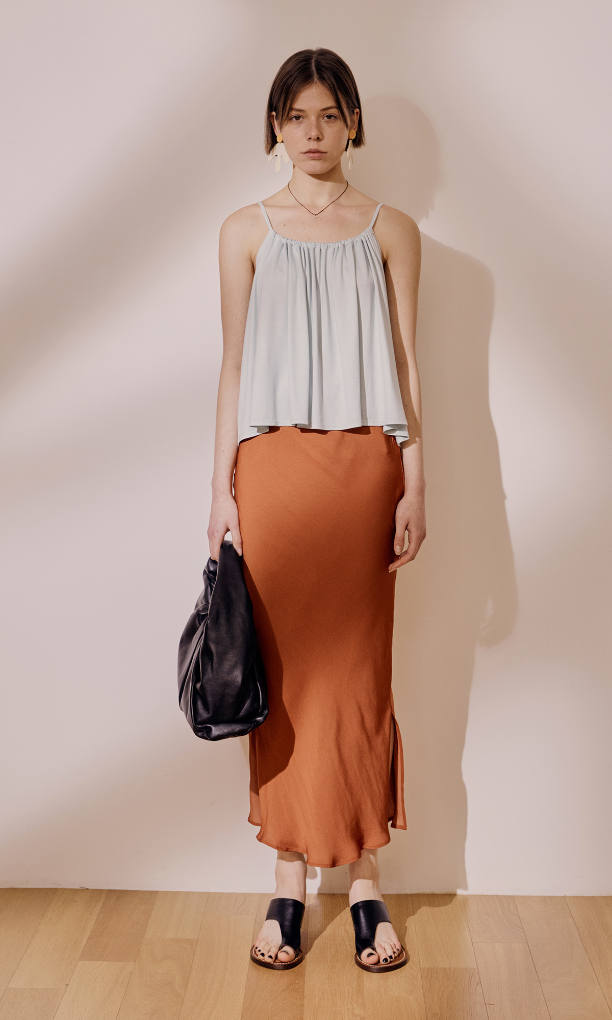 Salang Skirt Slit_Orange Brown (1차 리오더)