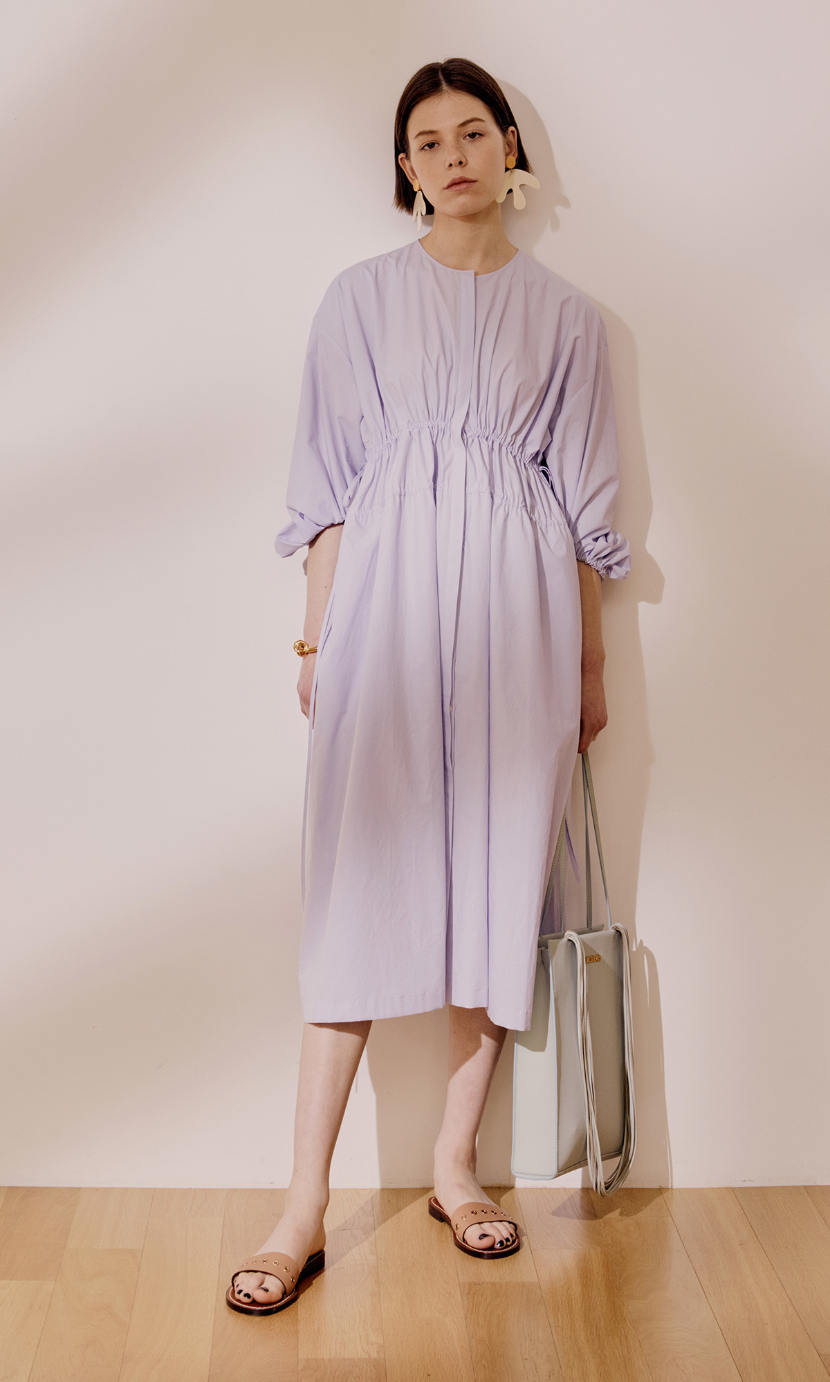Double String Gather Dress_Lilac (1차 리오더)