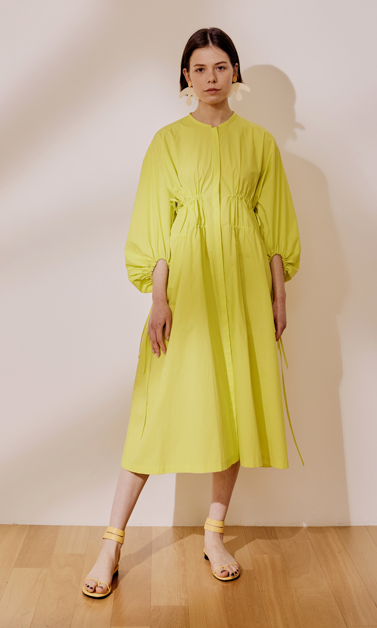 Double String Gather Dress_Lime (1차 리오더)