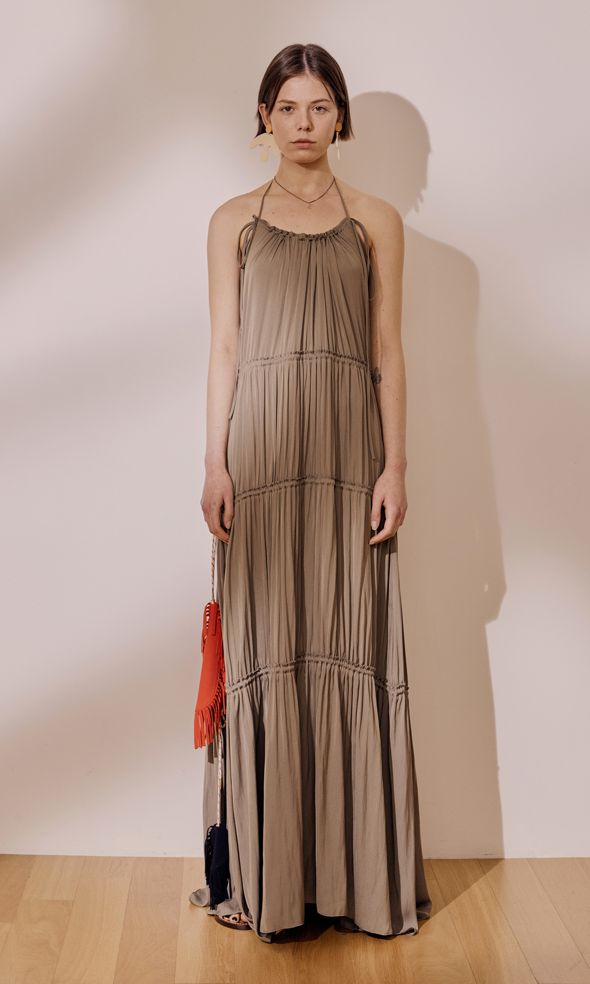 Gypsy Halterneck Dress_Khaki
