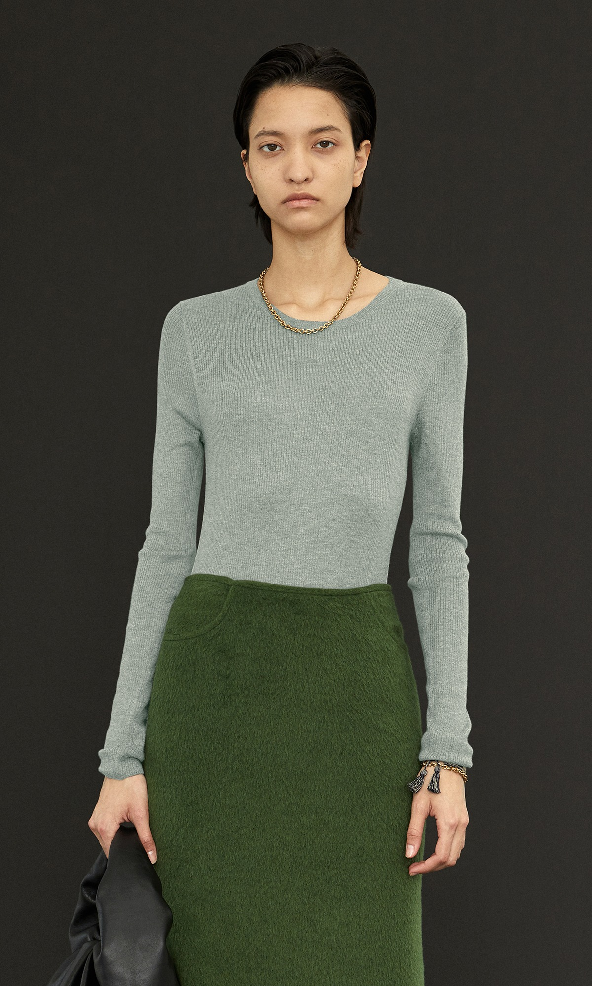 Kelli Cashmere Knit_Mint+Dark Gray