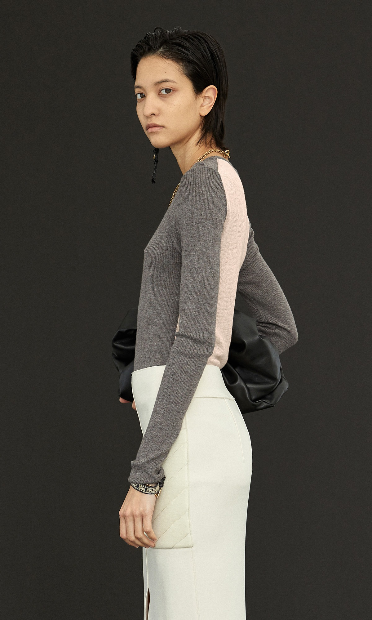 Kelli Cashmere Knit_Gray+Light Pink