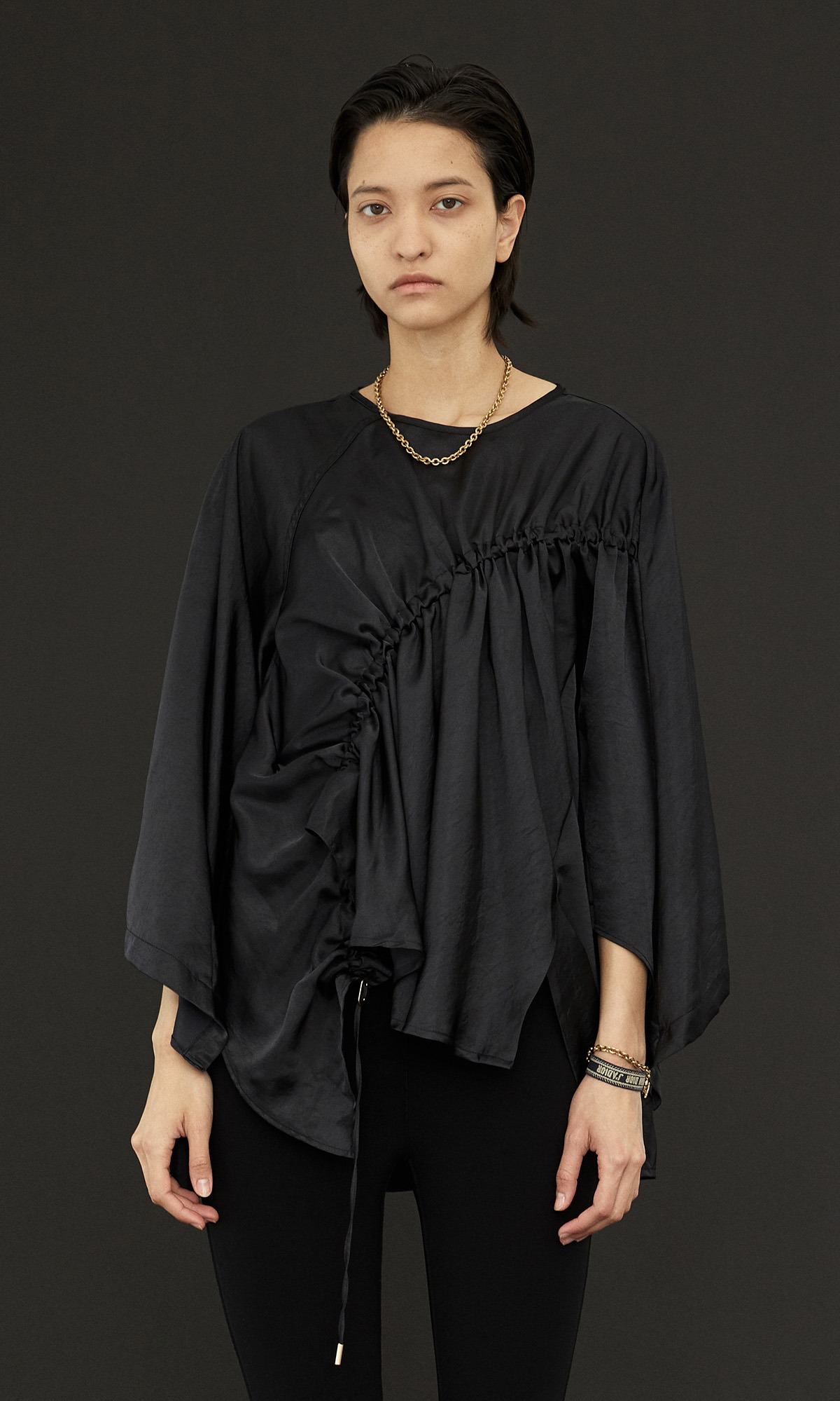 Cadi String Gather Top_Black  (Pre-Order)