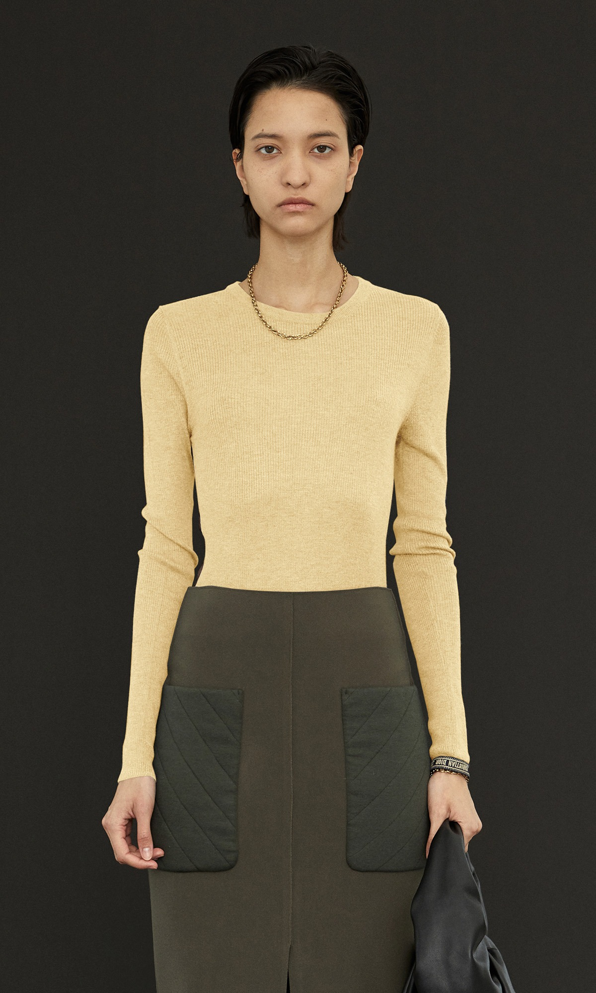 Kelli Cashmere Knit_Yellow+Dark Brown