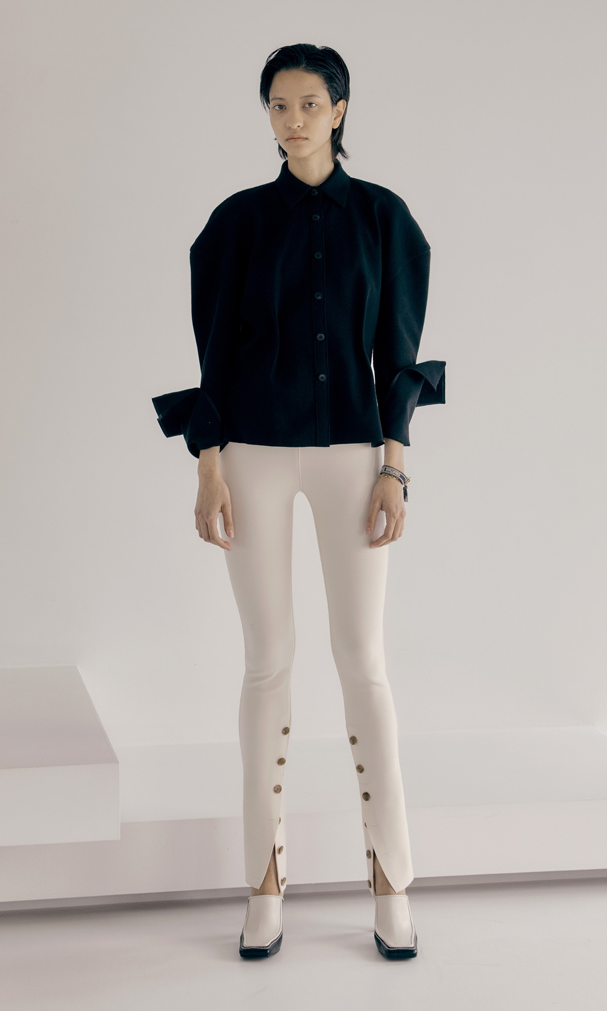 Button Up Skinny Trouser_Ivory