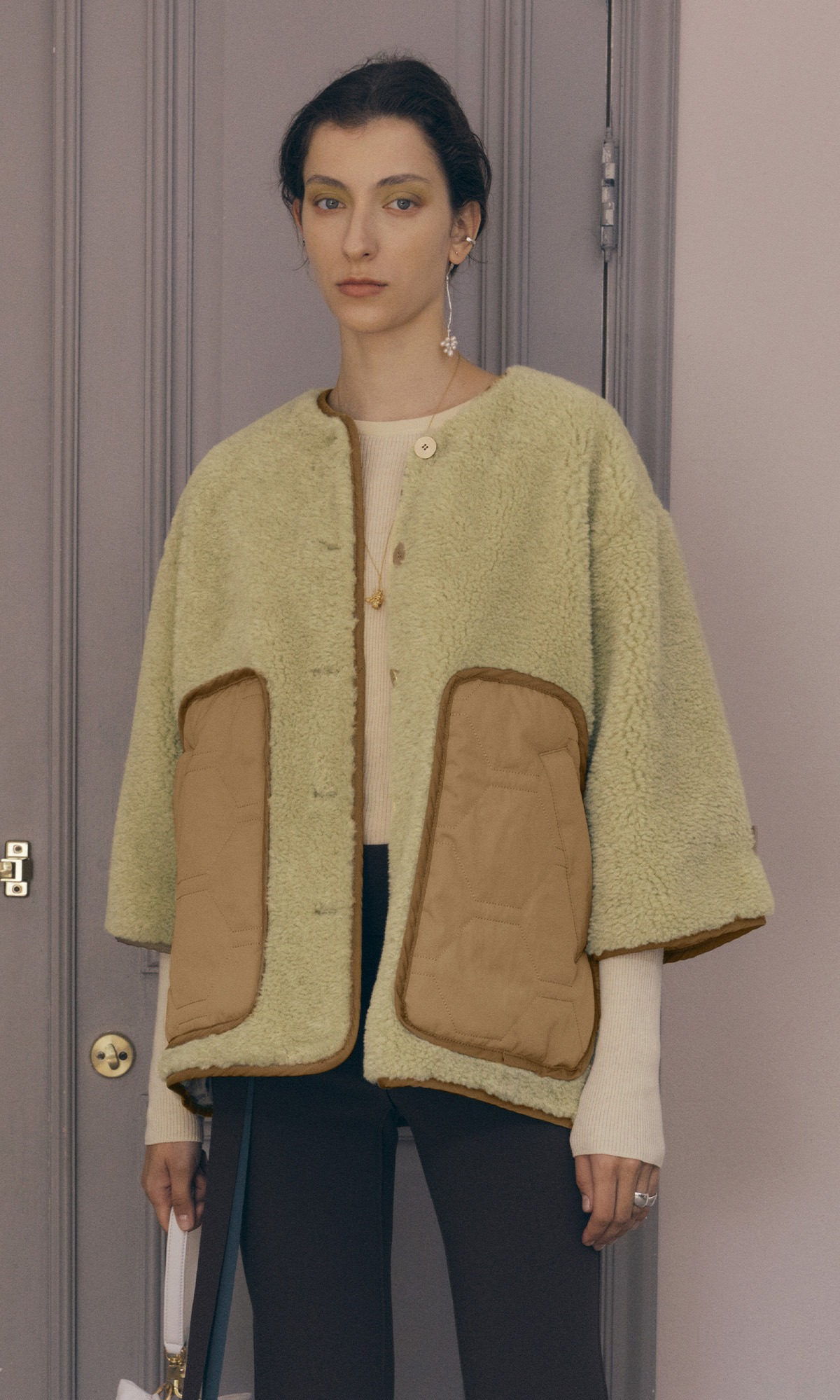 Teddy Eco Shearling Jacket_Linden Green