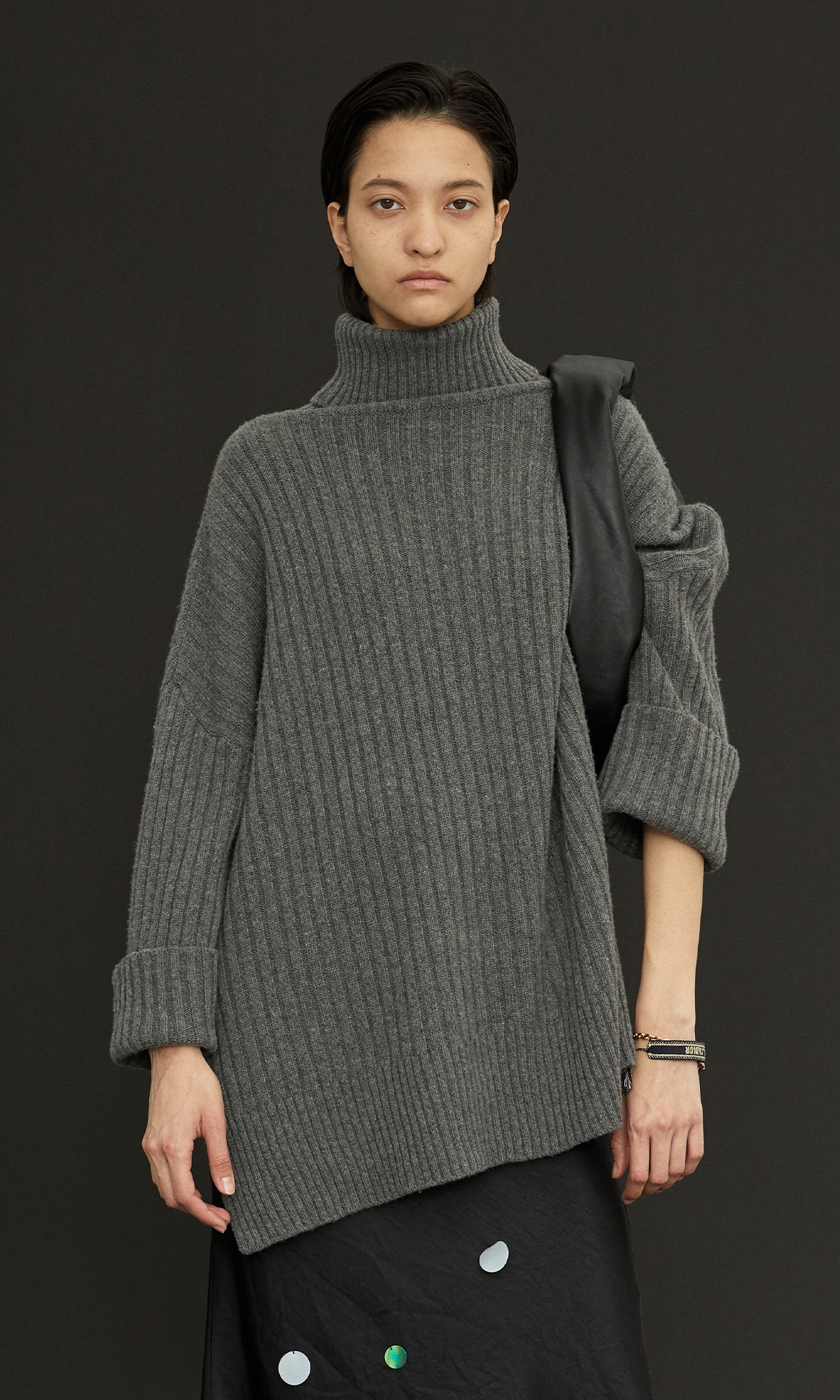 New Cashmere Cape Knit_Melange Gray