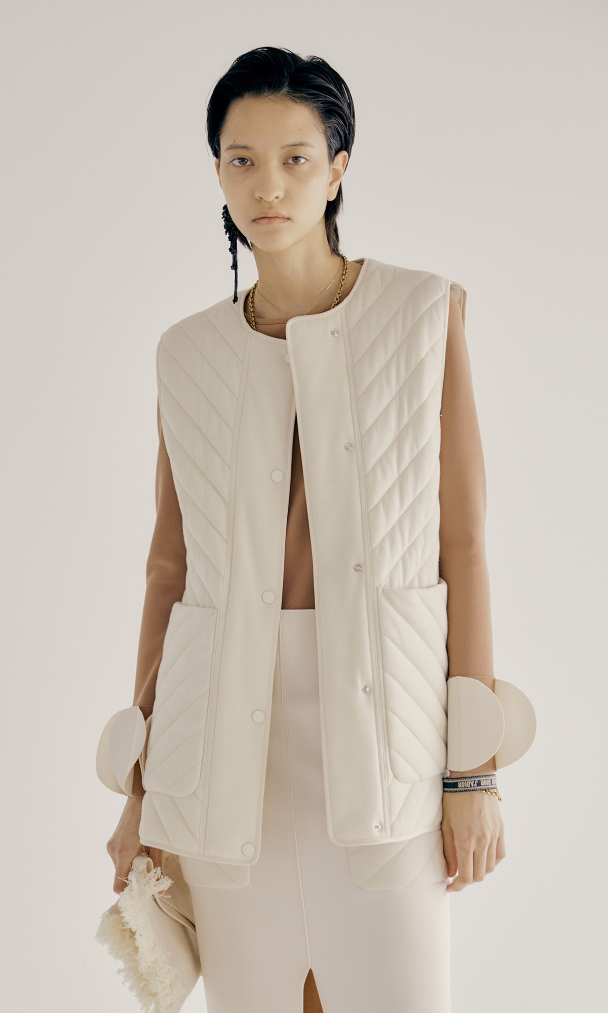Clair Quilted Vest_Ivory