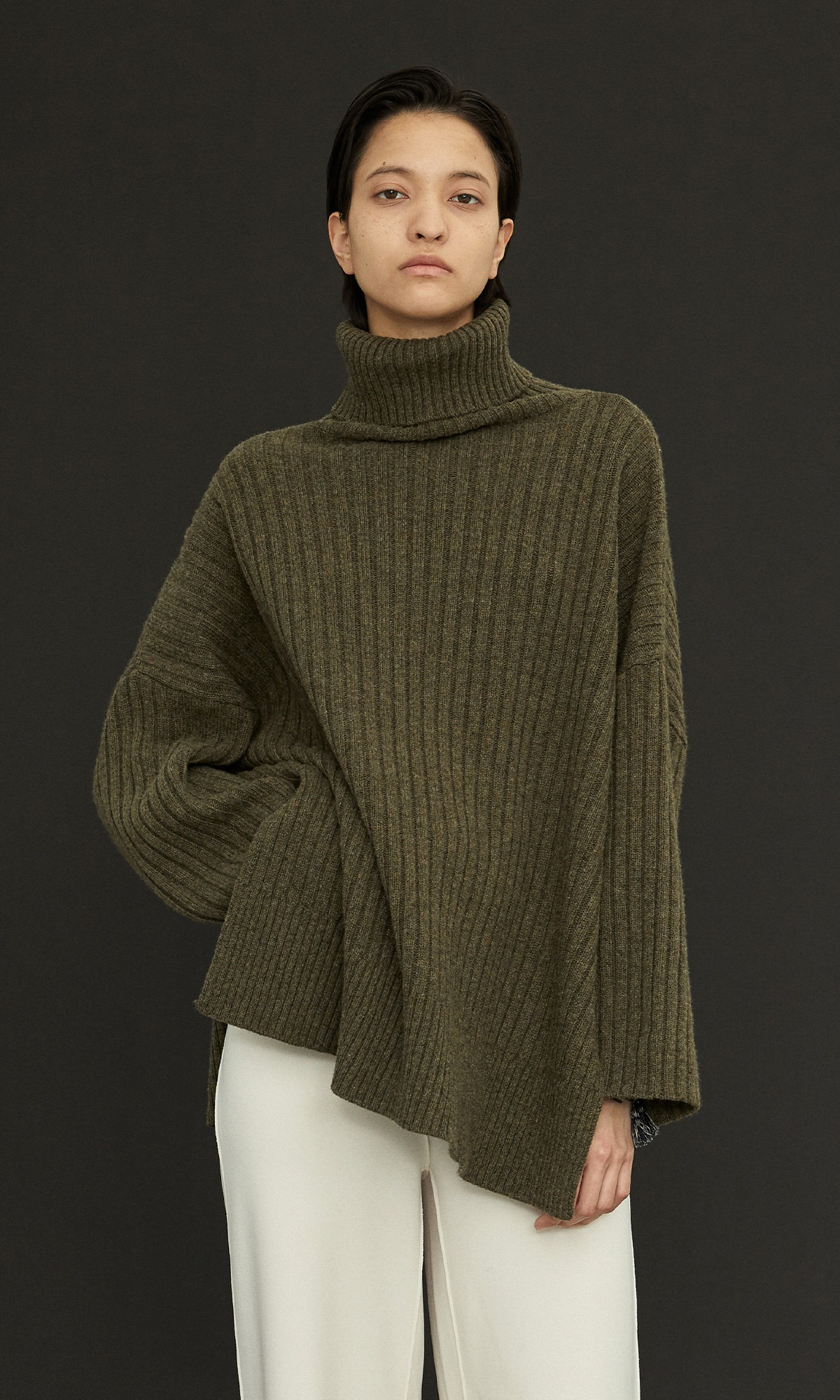 New Cashmere Cape Knit_Khaki