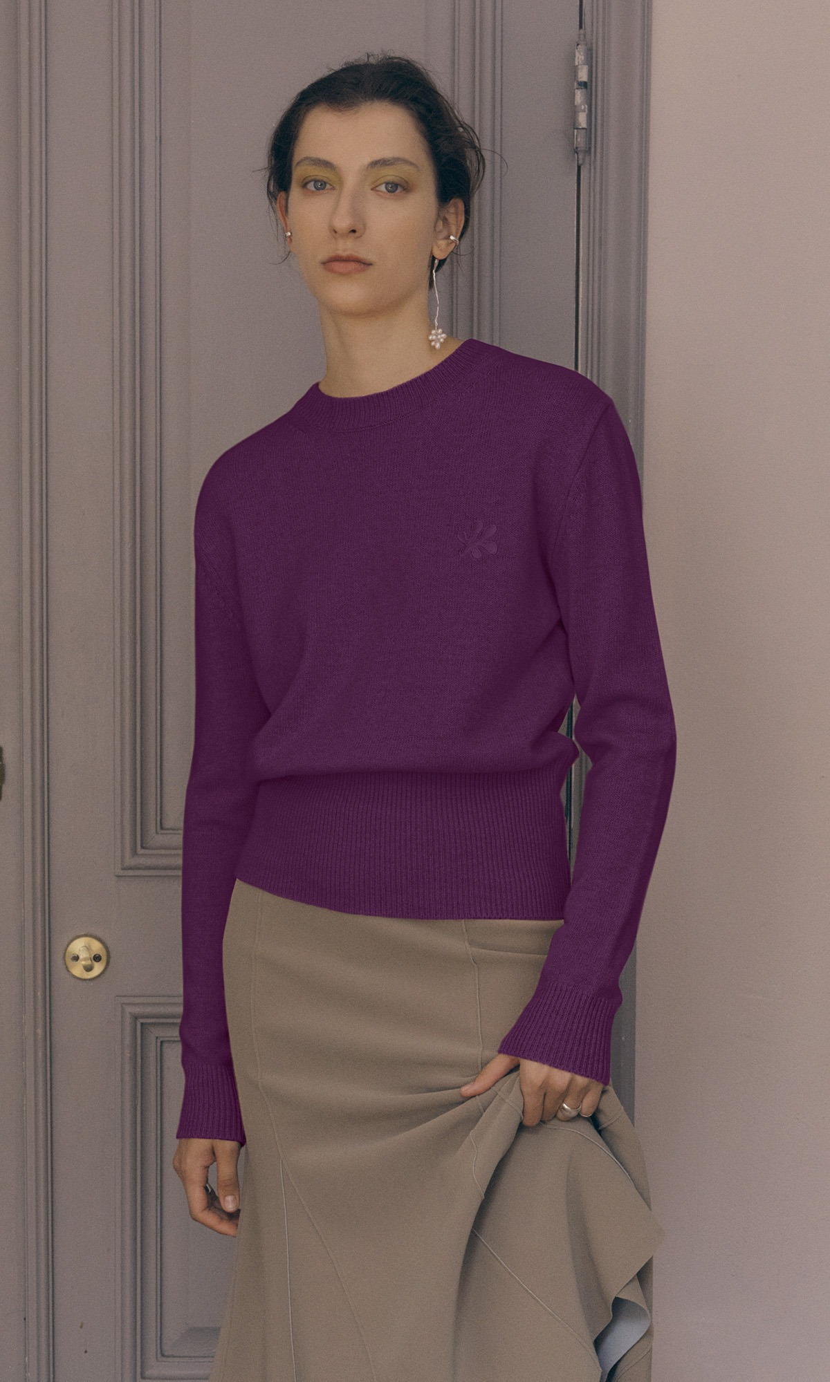 Leaf Cashmere Knit_Deep Purple (1차 리오더)