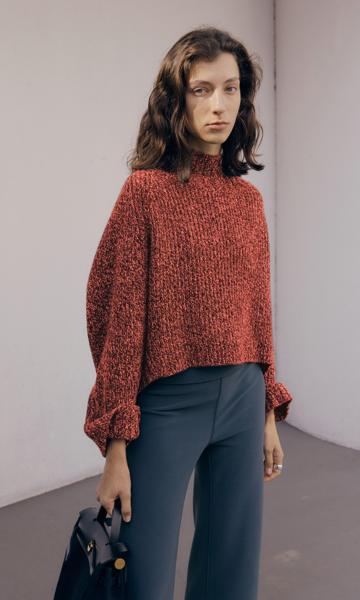 Lucia Shaded Knit & Muffler Set_Multi Red