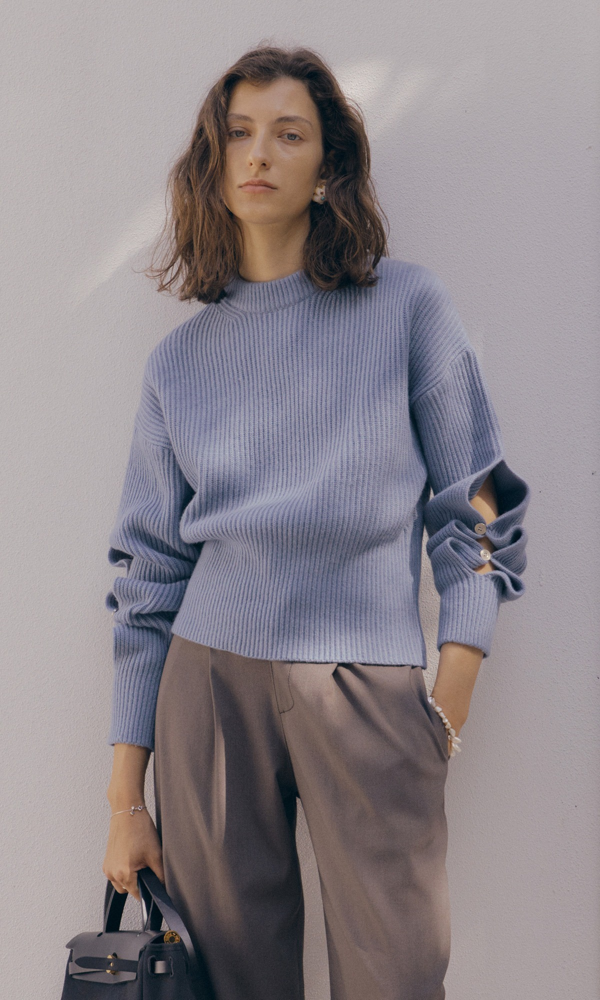 Slit Button Knit_Lake Blue