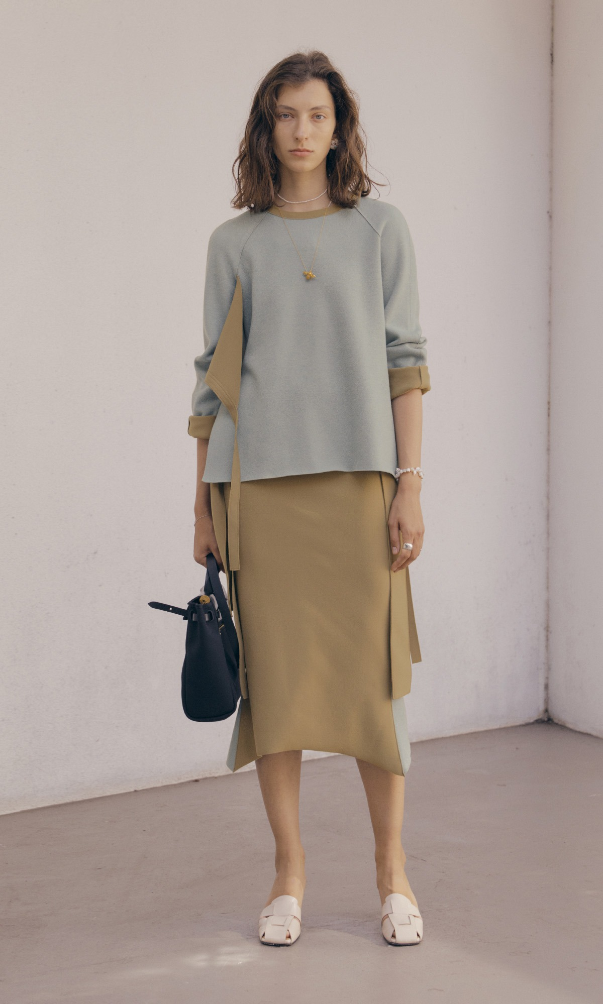 Double Belt Skirt_Mustard Olive (1차 리오더)
