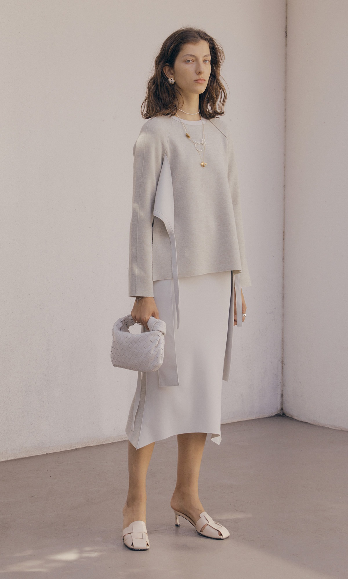 Double Belt Skirt_White Gray