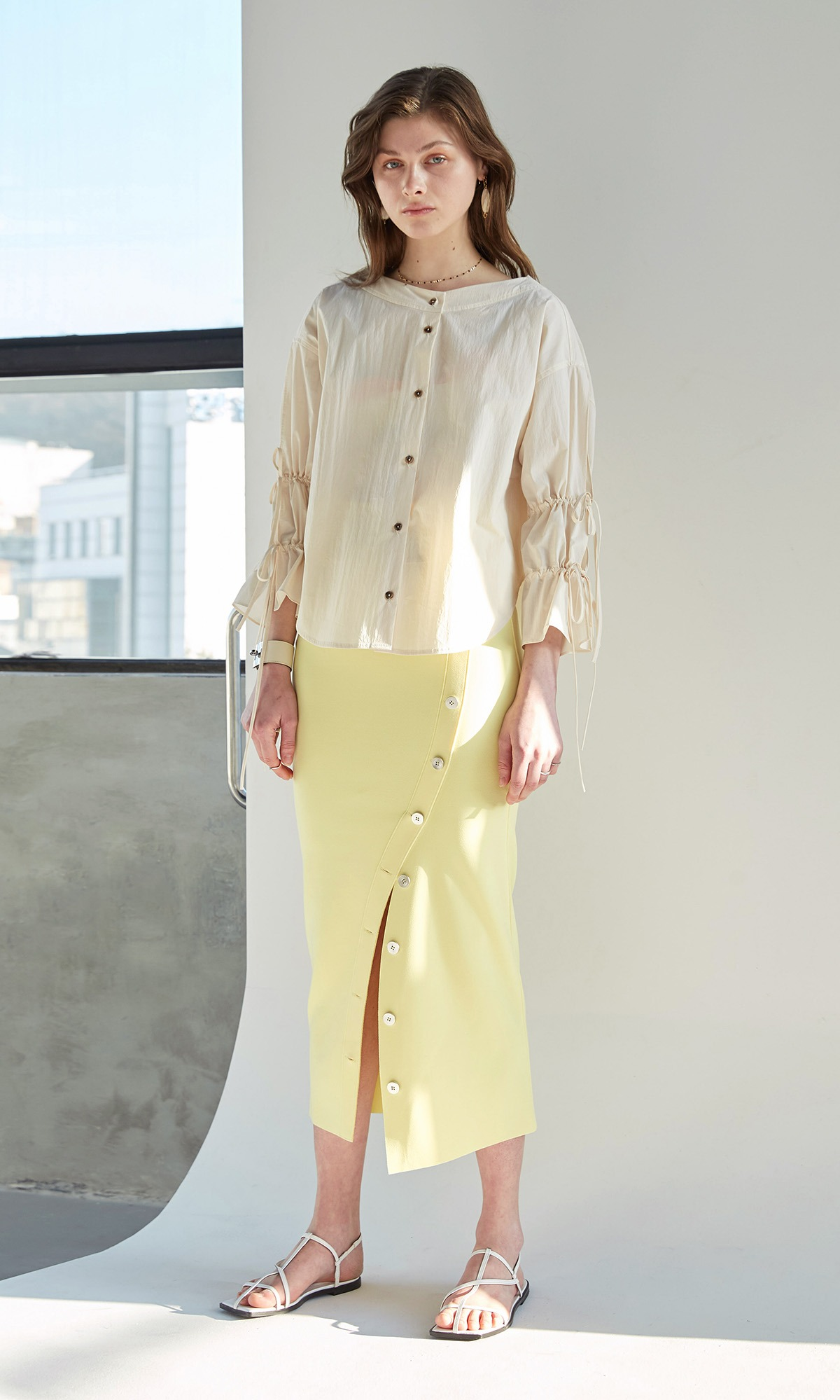 Riel Button Skirt_Lemon (1차 리오더)