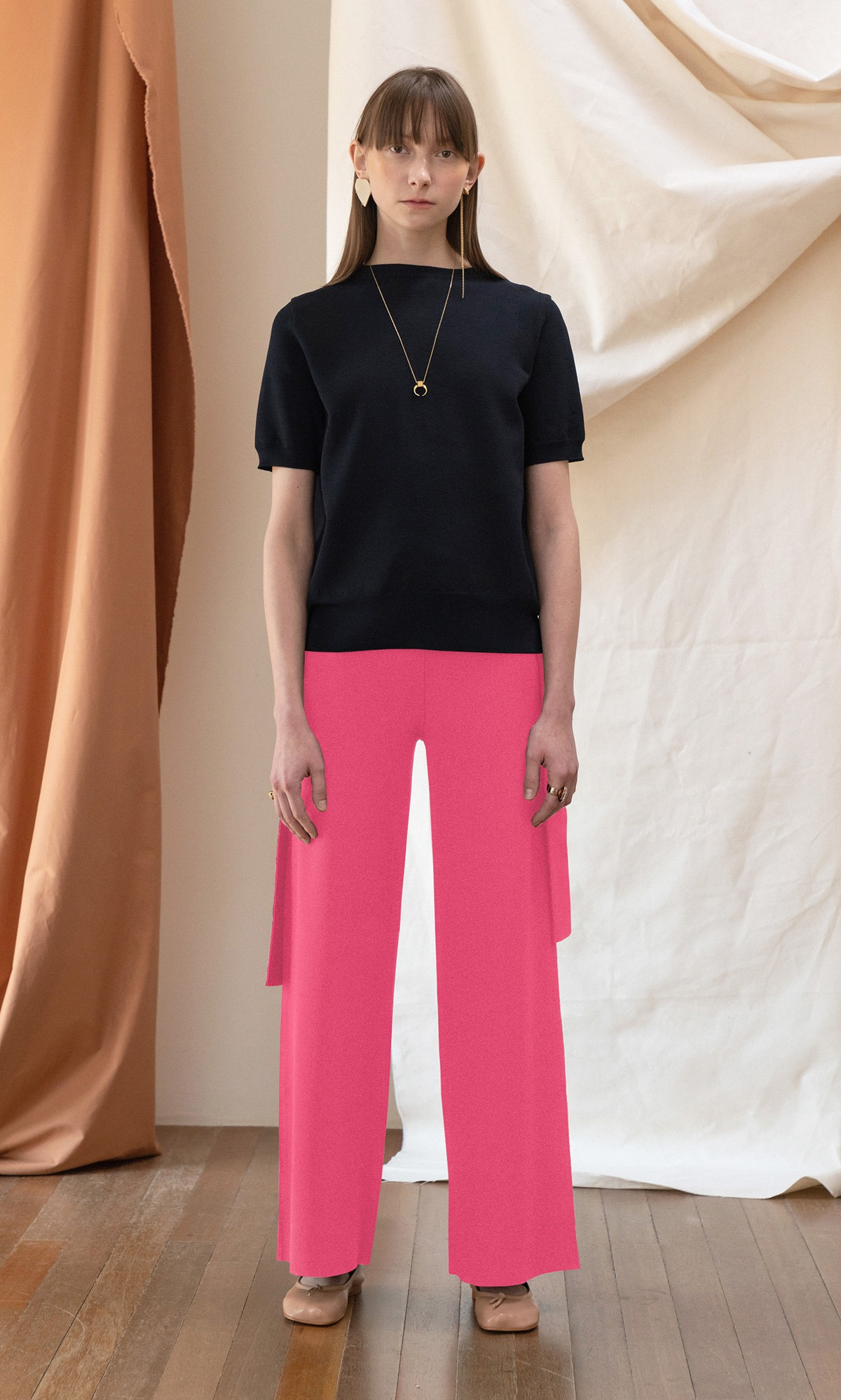 Basel Ribbon Wide Trouser_Fuchsia Pink