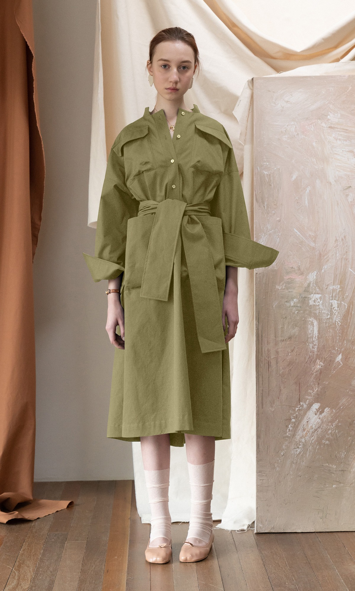 Roanne Shirt Dress_Khaki