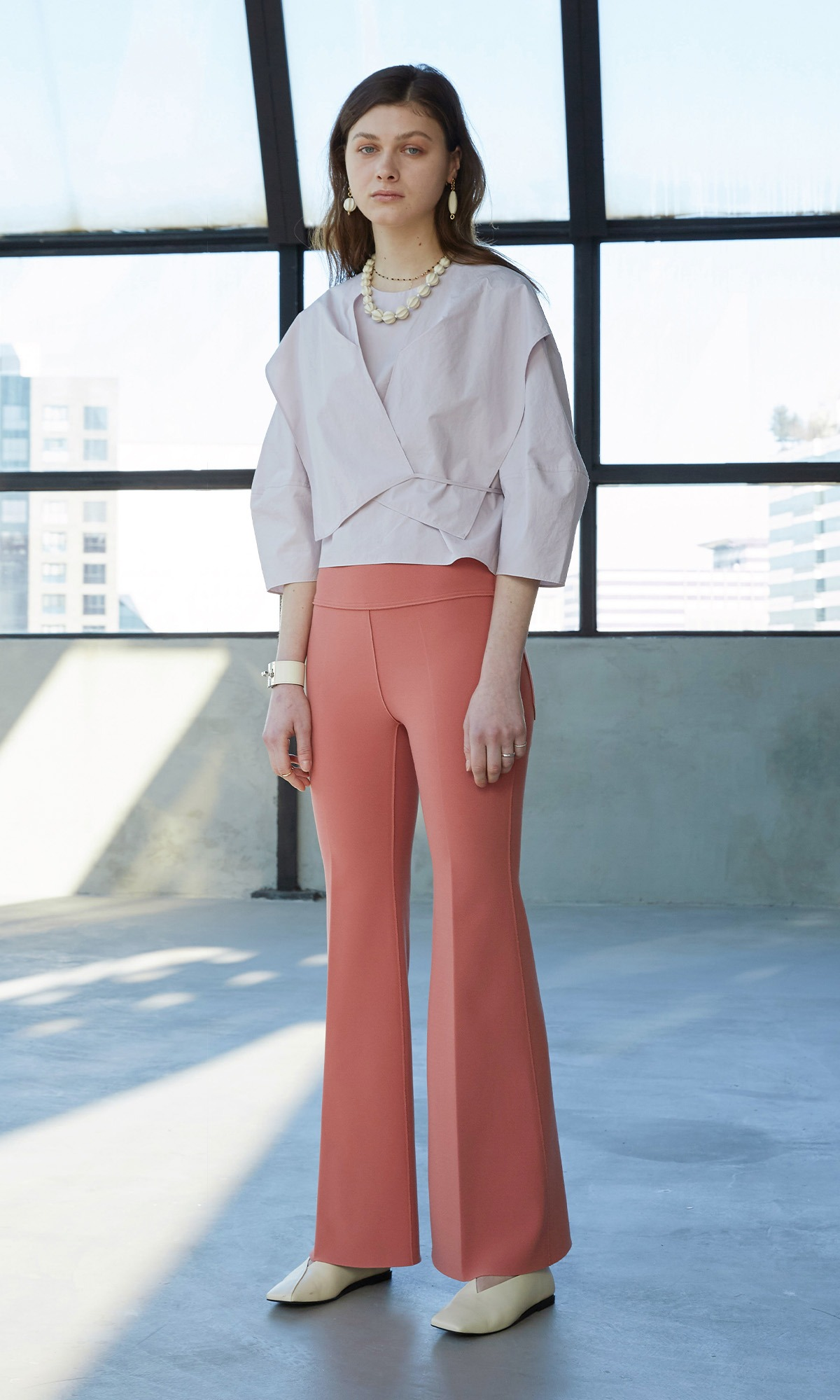 [Collection Line] Sealing Bootscut Trouser_Blush Pink