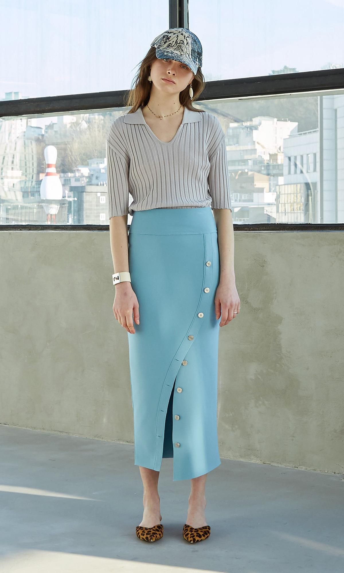 Riel Button Skirt_Aqua Blue (1차 리오더)