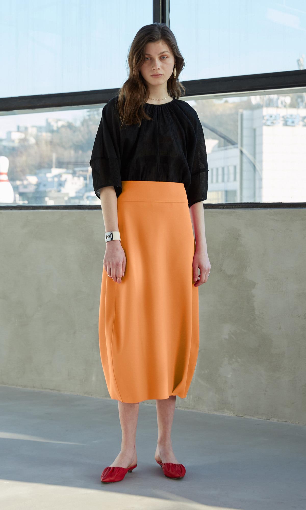Forum Skirt_Sunset Orange (1차 리오더)